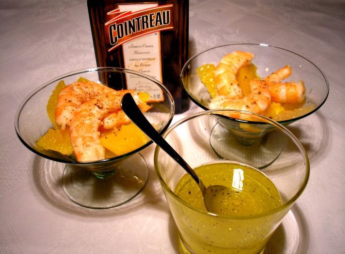 Salade de crevettes aux 2 agrumes et au Cointreau